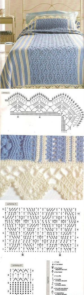 Шикарный плед-покрывало со схемами. Плед для кровати вязаный крючком   Домоводство для всей семьи