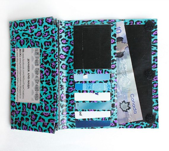 Items similar to Womens Duct Tape Wallet, Accordion Trifold~Blue Leopard Print. …