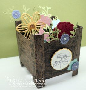 Spring Planter Box Card, Wood Textures DSP, Petals & More thinlits, May Flowers framelits, Falling Flowers - Addinktive Design Team Member - Rebecca Scurr - Independent Stampin' Up! demonstrator - www.facebook.com/thepaperandstampaddict