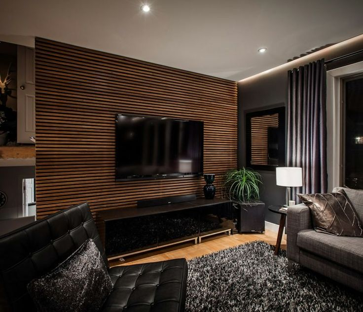 Interior, Impressive Living Room Design With Cool Wood Slat Wall For Tv  Desk And Elegant Black Leather Sofa Combined With Modern Cabinet And Desk  Lamps: ...