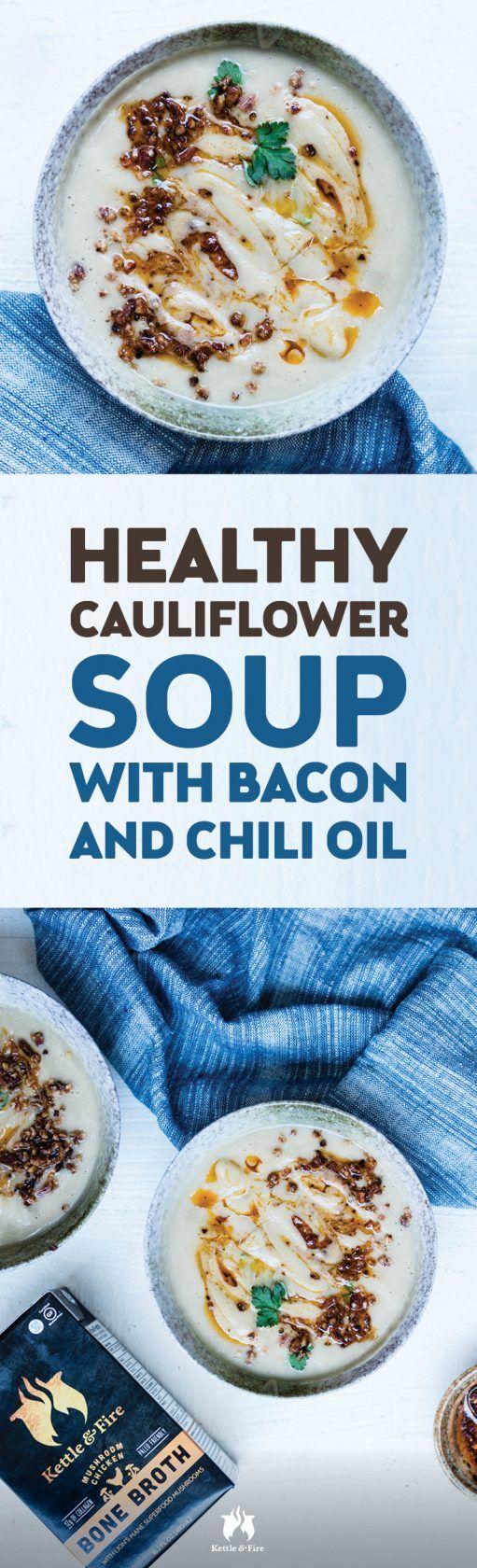 This healthy cauliflower soup recipe is like a healthier, leaner version of potato soup. And thanks to the addition of Kettle & Fire's collagen-rich chicken bone broth (a better option than chicken stock or chicken broth), it's also packed with protein and essential vitamins.