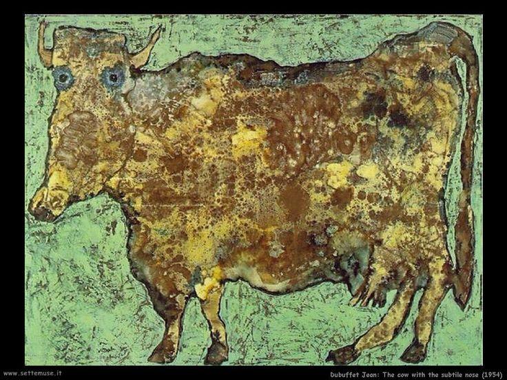 La mucca con il naso sottile _ Jean Dubuffet (1901-1985) _ (materia) _ crea il movimento Art Brut, pittura infantile e primitiva, amico di Jonesco.