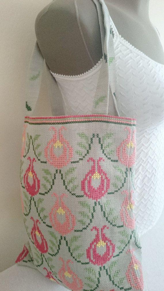 Ottoman Tulip Design Tote Bag Tulip Cross Stitch by LTLDizaynDIY
