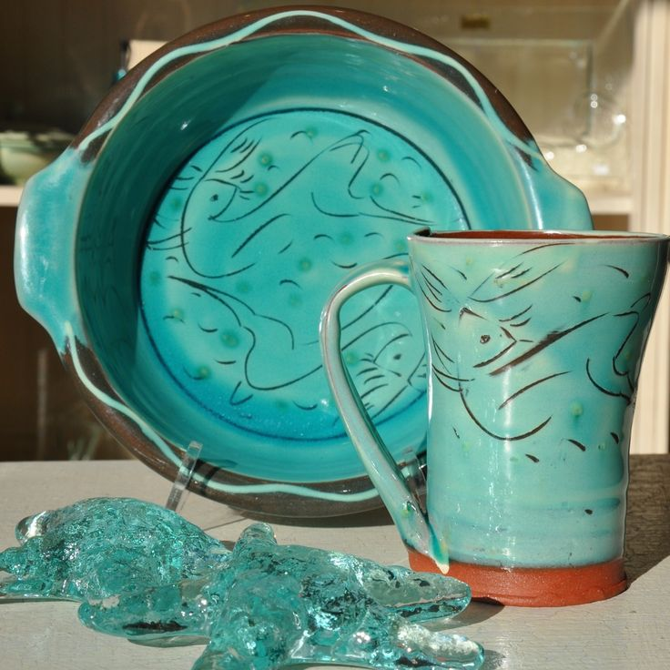 D'arcy Margesson pottery - aqua bunny dishes