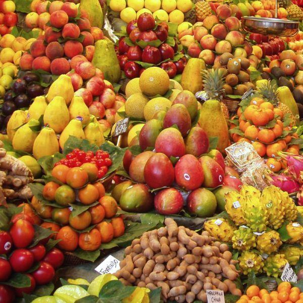 Assorted fruit in Markets in Haiti.