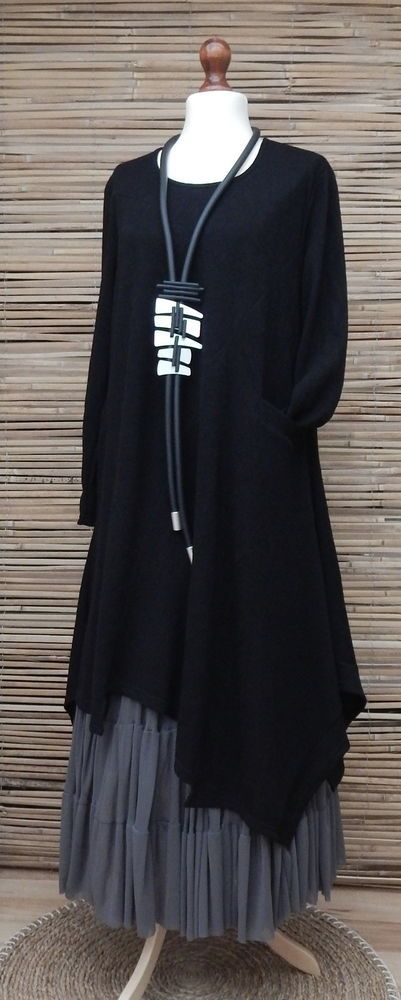 LAGENLOOK*AMAZING ASYMMETRICAL QUIRKY BOHO 1 POCKET LONG DRESS*BLACK*BUST 46