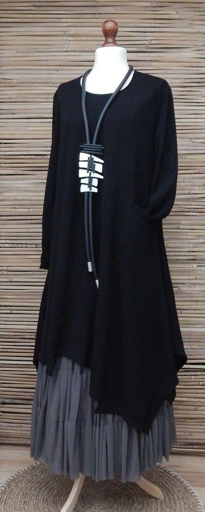 LAGENLOOK*AMAZING ASYMMETRICAL QUIRKY BOHO 1 POCKET LONG DRESS*BLACK*BUST 46