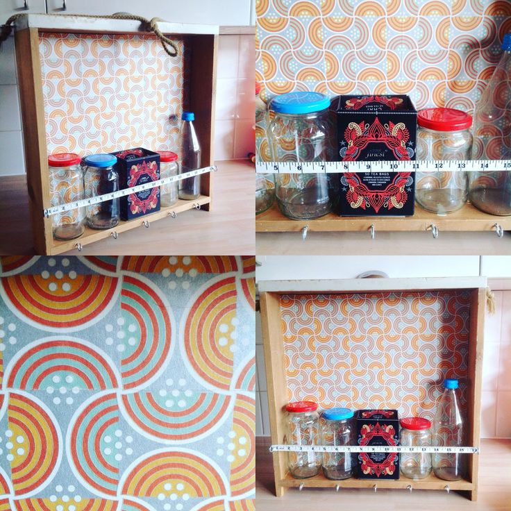 Wooden drawer upcycled as a kitchen wall or worktop storage unit, s price rack, tea station with hooks and retaining strap rope wall hung by ReworkedHomewares on Etsy