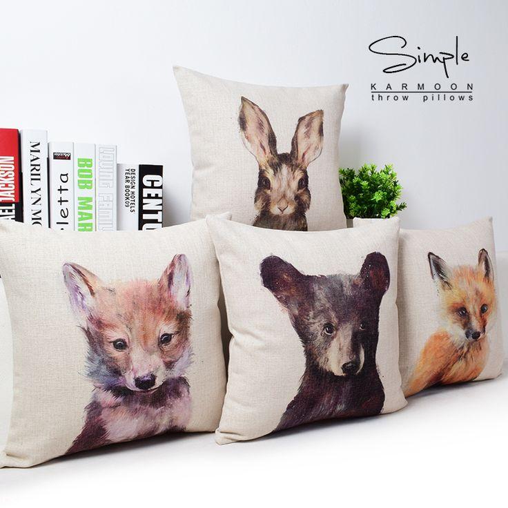 Peinture à l'huile Style oreiller coussin chaise de siège de voiture oreiller hôtel animaux bande dessinée coton lin ours impression coussin dans Coussin de Maison & Jardin sur AliExpress.com | Alibaba Group