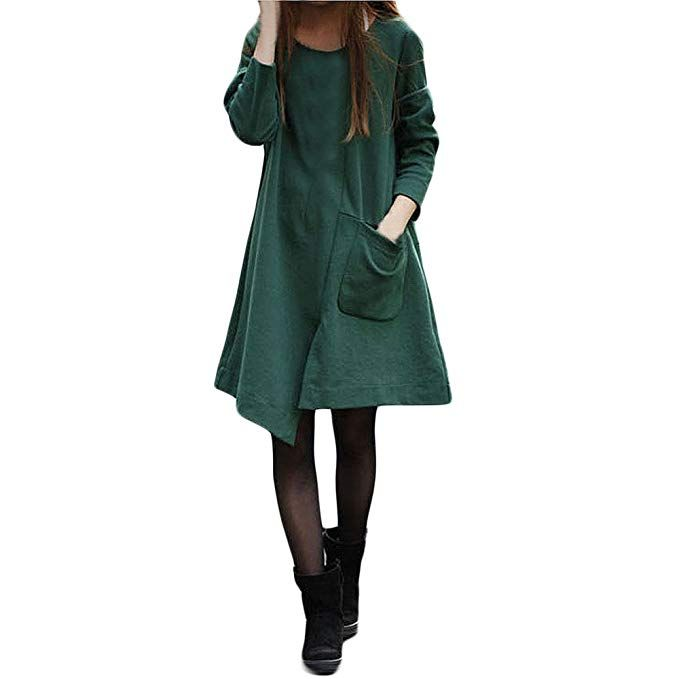 716e9cc0cdcb DOGZI Mujer Vestidos Algodón Bolsillo Grande Irregular Manga Larga ...