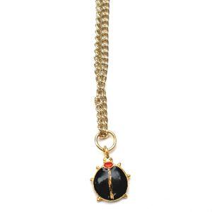 1970s Retro Enamel Ladybug Pendant Choker Black Handmade by Etelage