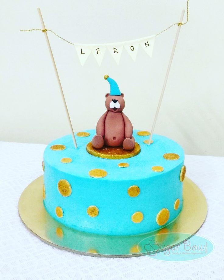 Cake for lil Lerons 1st birthday  #teddy