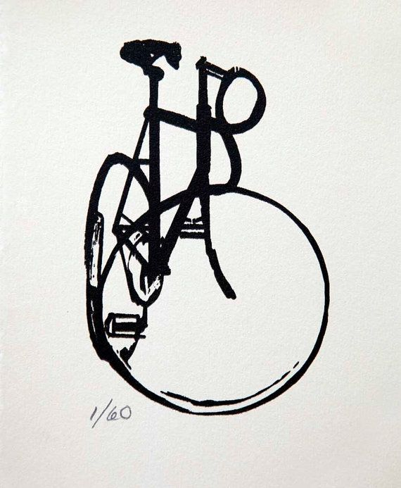 Its a one screen print, on Canson Edition wheat colored paper, based on an ink drawing of beautiful classic track bike Edition of 60 The prints are 6x7, and are matted in a 8x10 window matt, ready to pop in a standard sized frame.