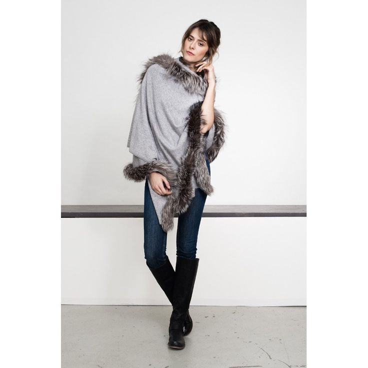 Cashmere Wrap with Genuine Fox Trim - Mottled Grey with Silver Trim - High Quality Outdoor and Casual Furniture - Buy online or in Burlington, Mississauga, London, Waterloo, Richmond Hill, Ottawa, Toronto - Hauser Stores