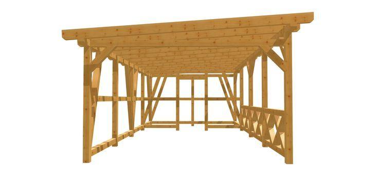 Holz Carport Bauanleitung 4m X 8m Carport Mit Schuppen Carport Carport Selber Bauen