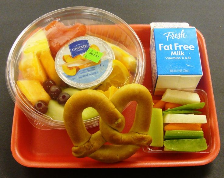 Fresh fruit and yogurt with a warm pretzel and colorful fresh jicama, snow  peas, · School MenuSchool LunchesNational ...