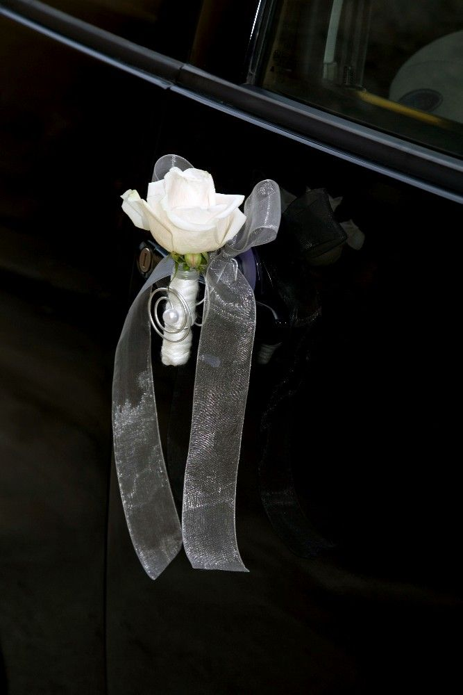 Love the simplicity of flower and shear ribbon. Perfect accent on vehicle for Bride and Groom.