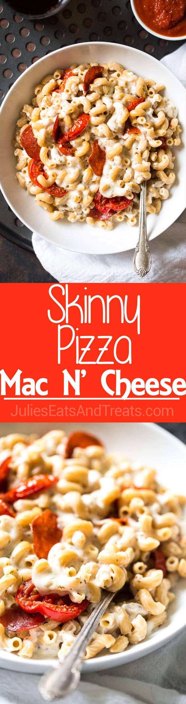 Skinny Pizza Mac N' Cheese - Two comforts food in one with this easy, weeknight meal that is made with Greek Yogurt to keep it light and healthy! ~ http://www.julieseatsandtreats.com