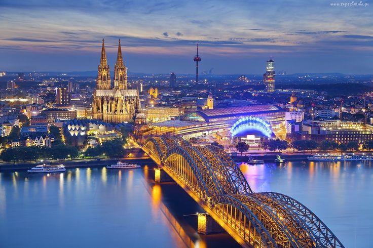 Niemcy, Kolonia, Miasto, Nocą, Most, Rzeka