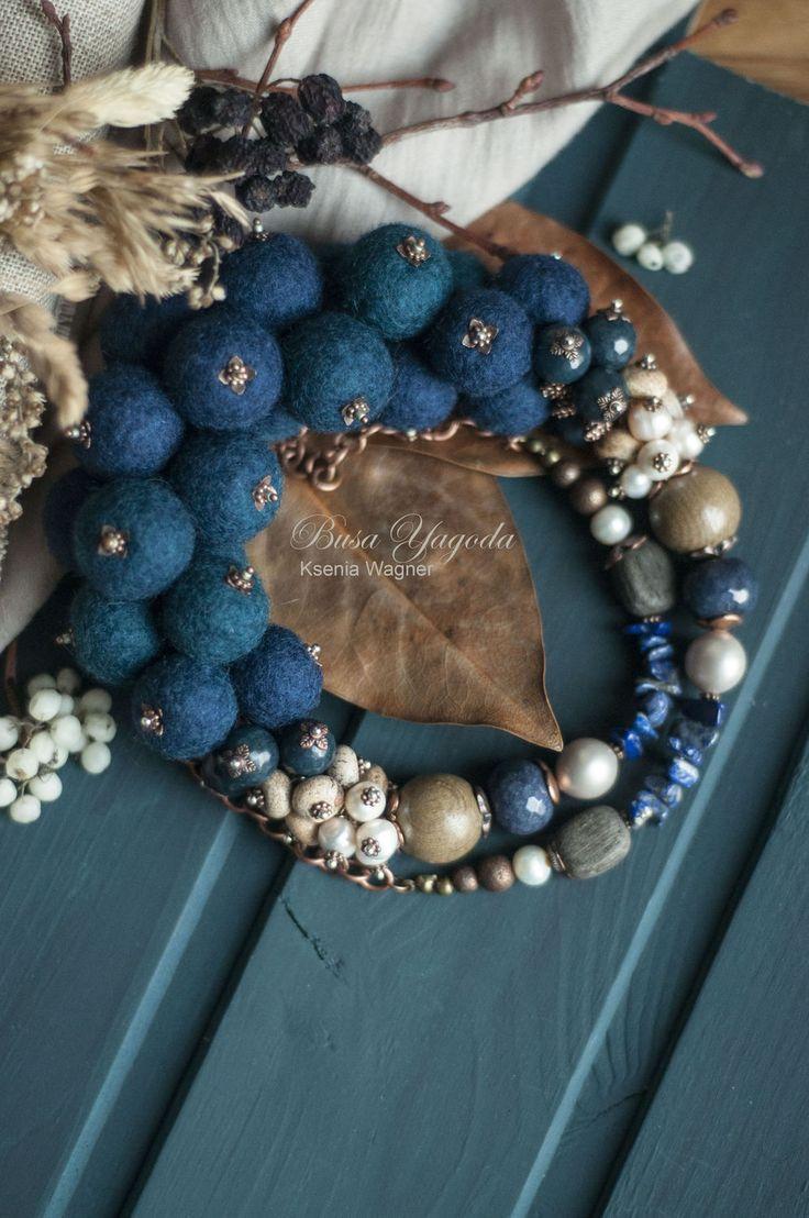 """Купить Колье ручной работы """"Осенний шторм"""" - темно-синий, синее колье, океан"""