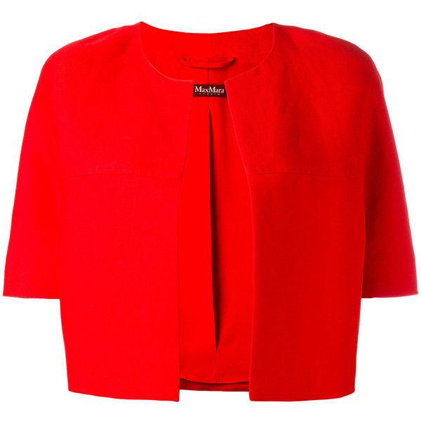 Max Mara cropped blazer ($495) ❤ liked on Polyvore featuring outerwear, jackets, blazers, red, short sleeve crop jacket, red jacket, collarless blazers, cropped blazer jacket and blazer jacket