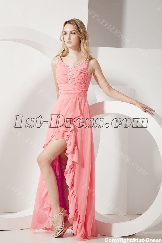 Coral Scoop Plus Size Cocktail Dresses with High-low Hem $175.00