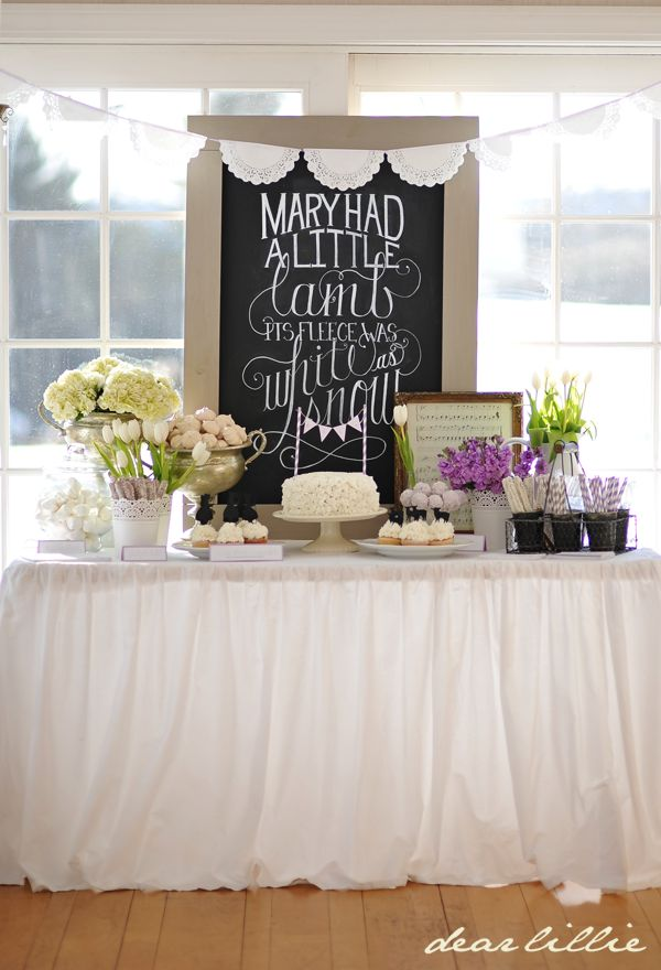 Love this sweet nursery rhyme baby shower table by Dear Lillie....especially love the chalkboard, would be adorable in a little one's bedroom!