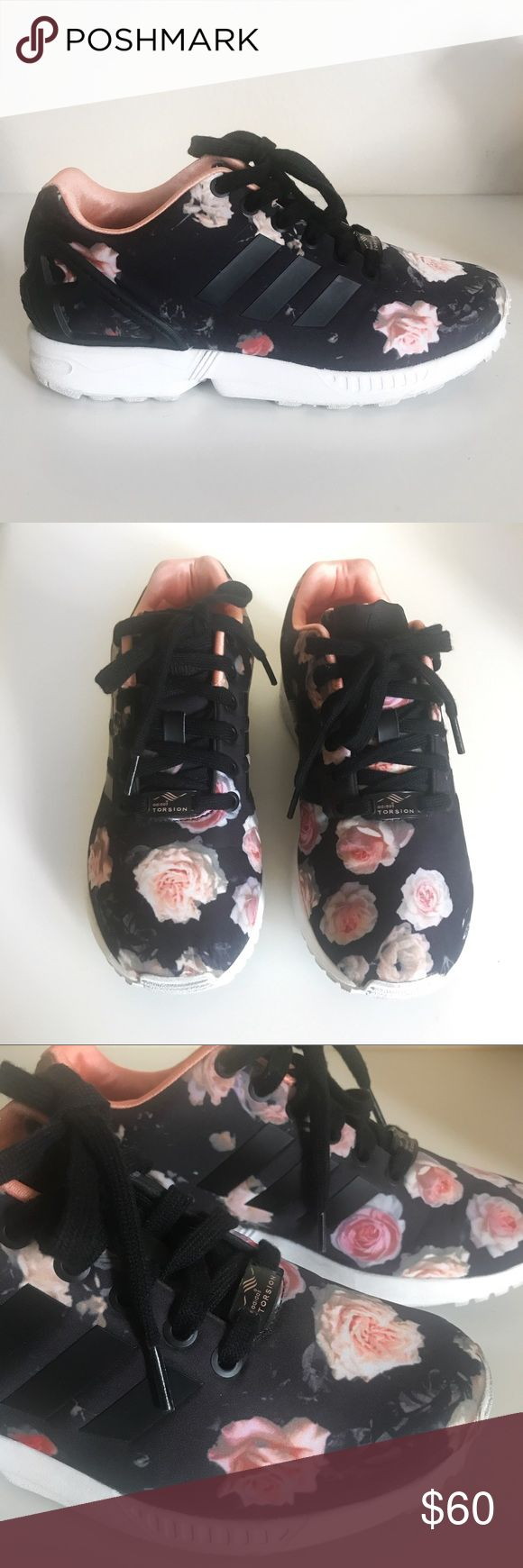 Floral Adidas Zx Flux Sneakers Worn 2x. Rare pair of adidas Zx Flux floral sneakers. Box included. Adidas b34010. No trades. Adidas Shoes Sneakers