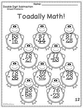 Touch Math Subtraction With Frog Theme Double Digit Mixed Problems Touch Math Math Subtraction Subtraction