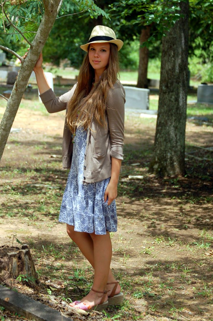 patterned dress, cardigan, and straw fedora summer outfit creations by callie