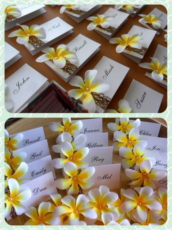 Love making these. Wedding Frangipani Place Cards. White frangipanis