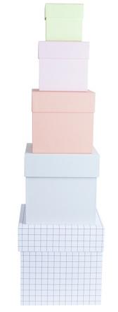 Sett med fem bokser i kraftig kartong, designet av HAY. Lengde 11-17 cm. HAY