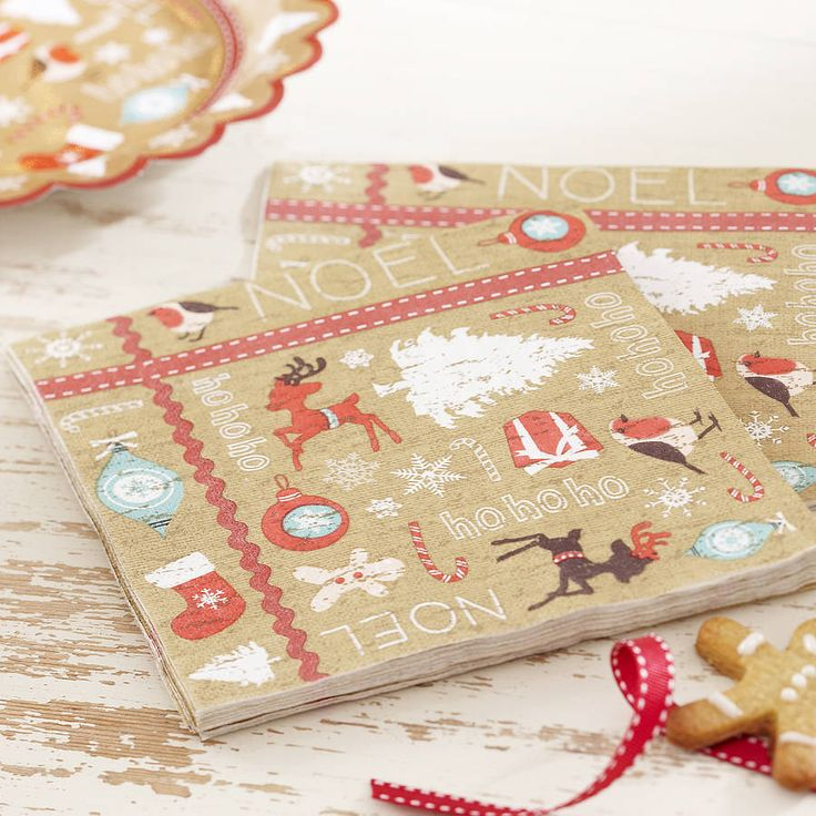 vintage style christmas paper napkins by ginger ray | notonthehighstreet.com