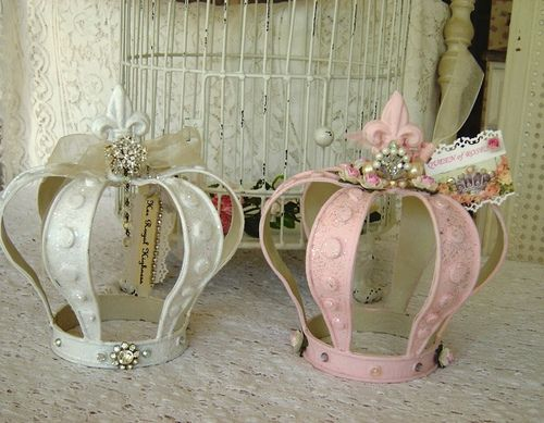 White and Pink Crowns | Flickr - from the Illusive Swan.  Perfect for a little girl's room.