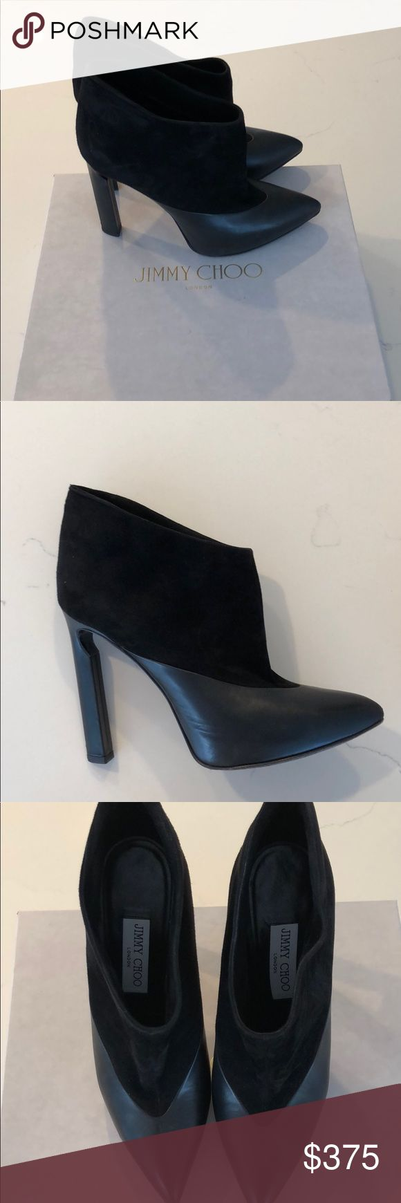 Suede/Napa Jimmy Choo ankle booties 39 Gorgeous suede and Napa leather pointed toe ankle boots. Bought at Jimmy Choo South Coast Plaza store last year for $1195 + tax. Comes with original box and shoe dust bag. Jimmy Choo Shoes Ankle Boots & Booties