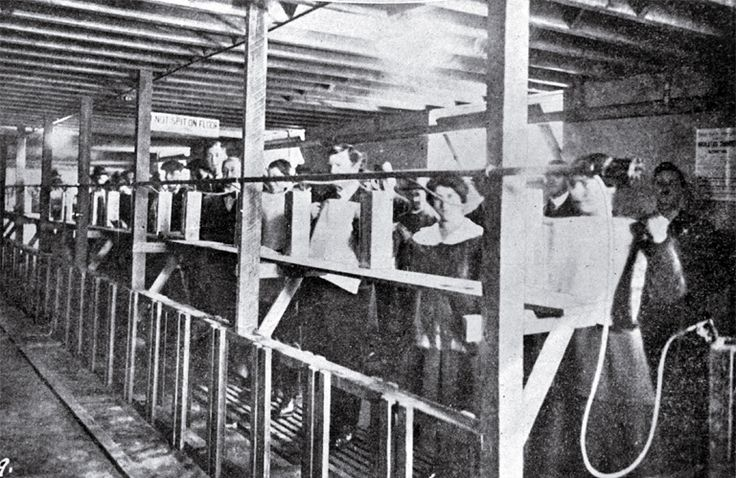 People using the inhalation chamber in the Government Buildings in Cathedral Square, Christchurch