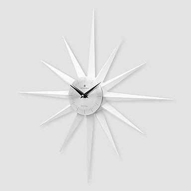 20.8H Sun Shaped Aluminum Finished Plastic White Wall Clock - USD $ 31.99