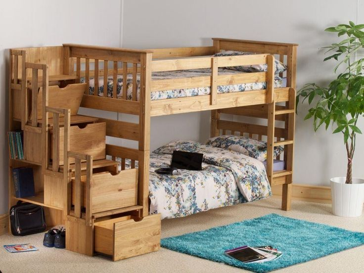Mission Waxed Pine Wooden Staircase Storage Bunk Bed
