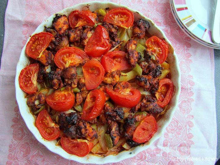 Fırında tavuk tava (Turkse ovenschotel met gekruide kip en groenten)