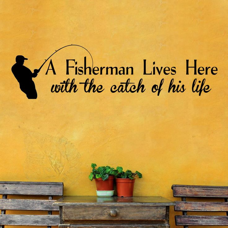 A Fisherman Lives Here Wall Decal Inspirational Wall Decals