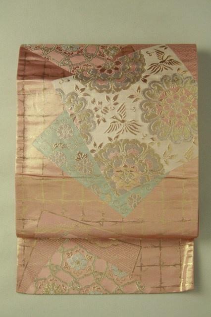 Rose pink fukuro obi / ローズピンク地 色紙取りの華紋柄 六通袋帯   #Kimono #Japan  http://www.rakuten.co.jp/aiyama/