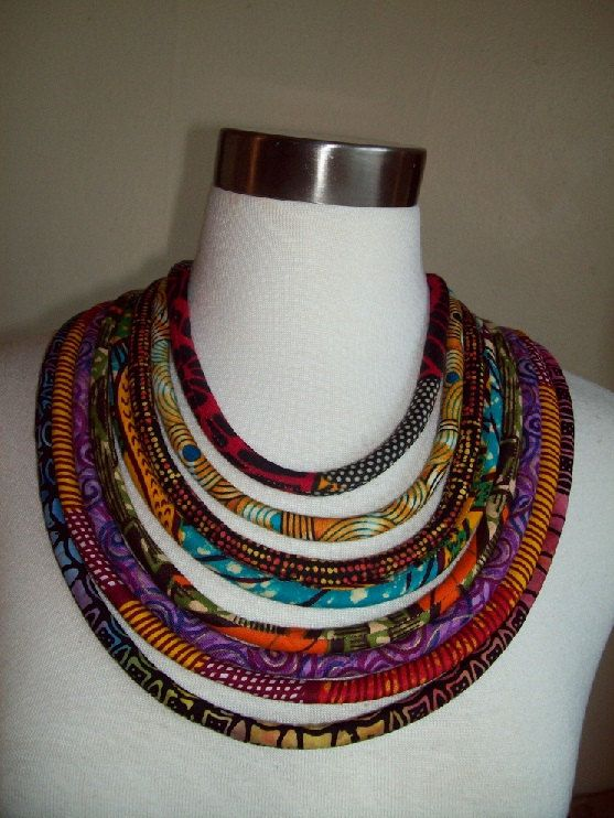 Ethnic African Fabric Tribal Cord Necklace By Painted
