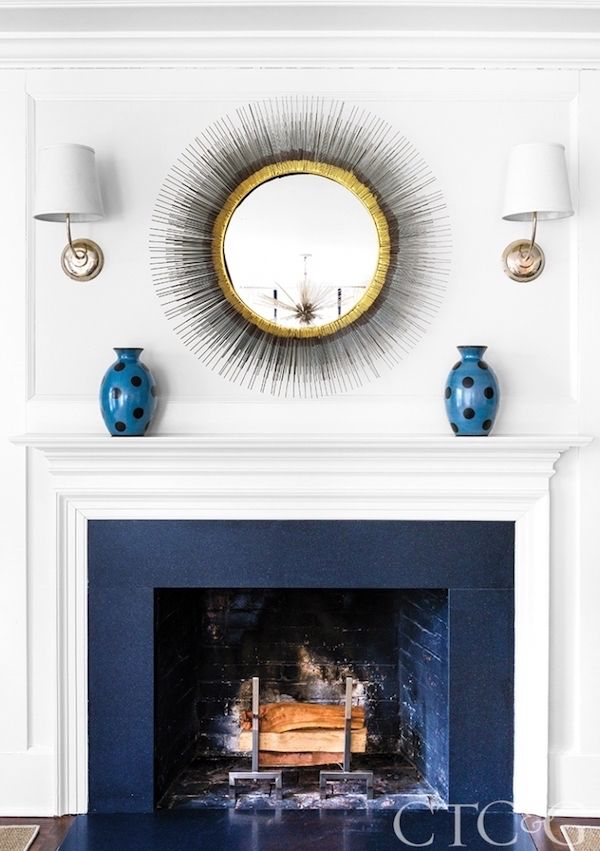 Peeking Into Designer S Homes The Zhush Painted Fireplace Mantels Modern Fireplace Mirror Over Fireplace
