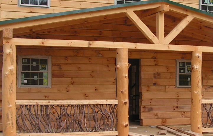 Poarch ideas log post beam porch this porch structure for Log cabin porches and decks