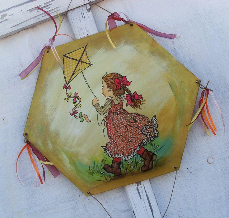 Sarah Kay Painting - Girl (WOODEN KITE) Ξύλινος Χαρταετός, Sarah Kay - Kορίτσι