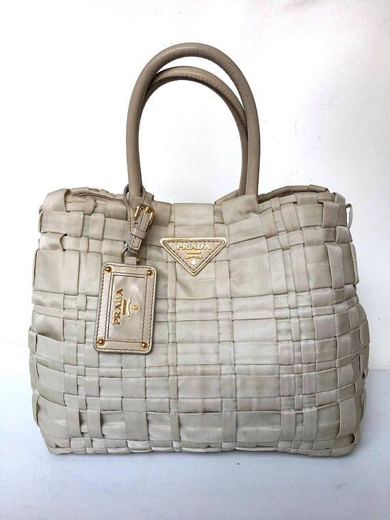 Authentic Prada 90s Tessuto Neylon Leather Tote Bag Beige