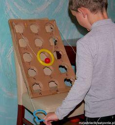 zabawki dla dzieci, kreatywne, koordynacja, diy, z kartonu, duża motoryka, sprawność, współpraca.