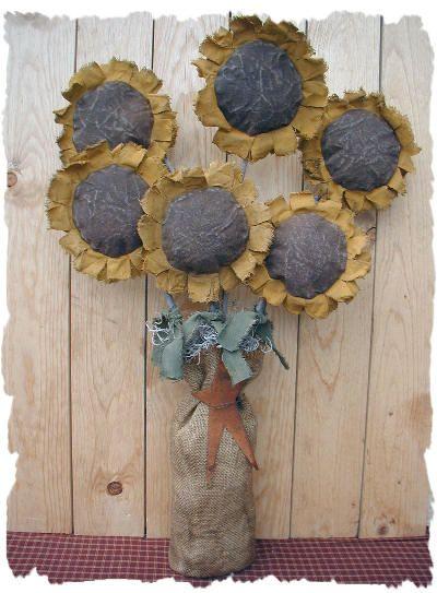 "Primitive Craft Ideas   Primitive Sunflowers by "" Sew Primitive Shoppe """