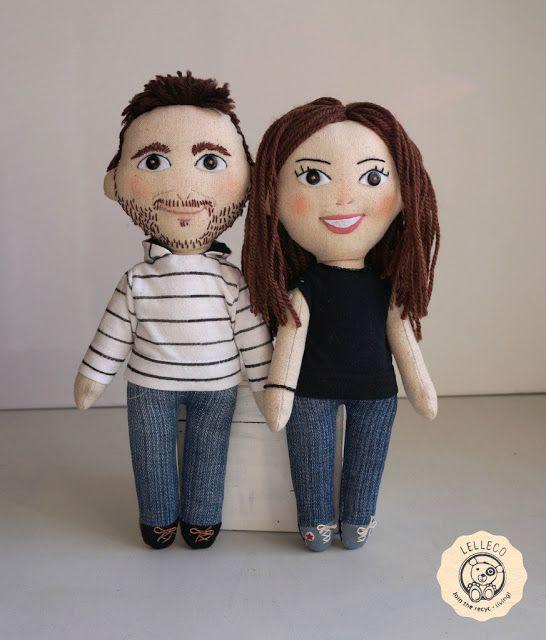 Muñecos personalizados: pareja de novios A couple of personalised dolls: gift idea for a girlfriend/boyfriend by Lelleco