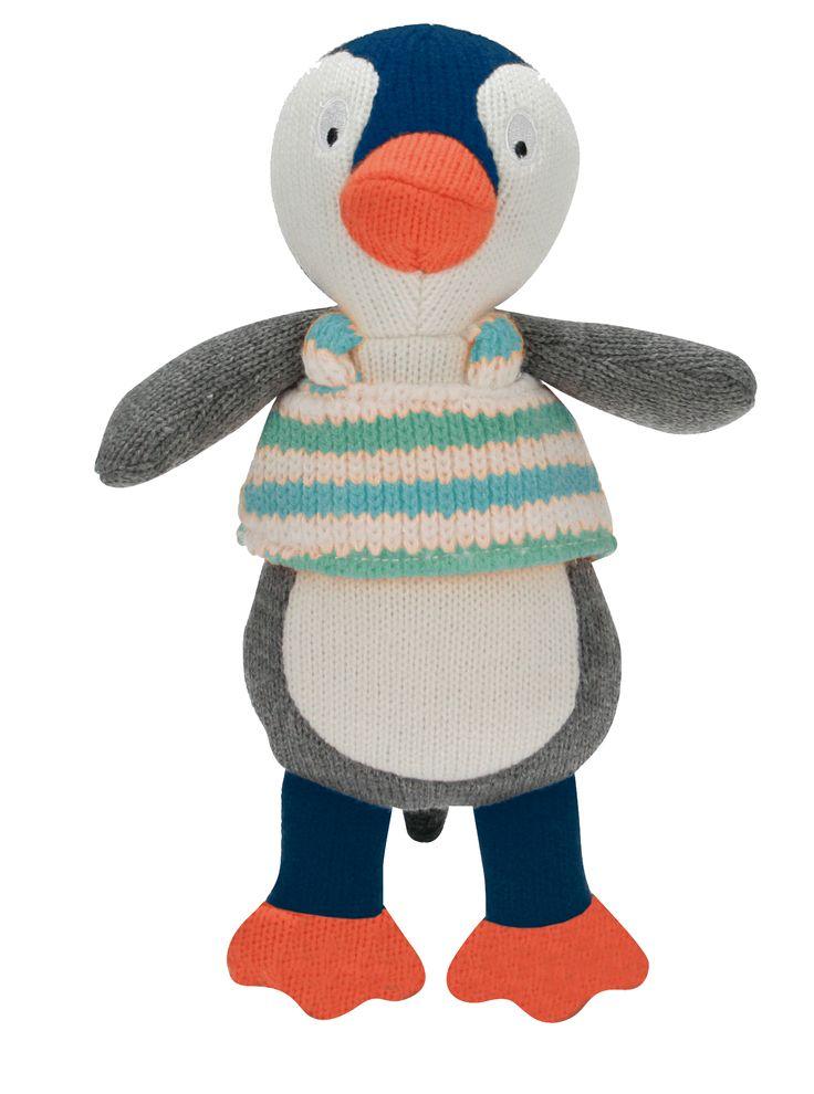 Jules le pingouin des personnages de la Wooly Family par Latitude Enfant. Jouet ludique. Doudou d'éveil. Produit de puériculture.